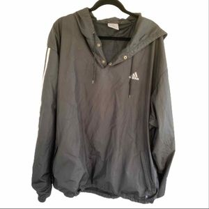 Adidas Black Pullover Wind Breaker Plus Size Jacket with Hood